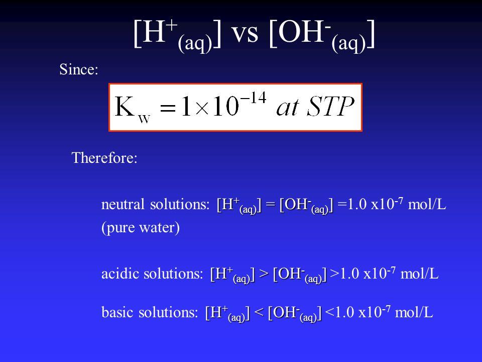 [H+(aq)] vs [OH-(aq)] Since: Therefore: neutral solutions: [H+(aq)] = [OH-(aq)] =1.0 x10-7 mol/L.